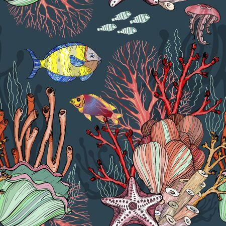 Seamless pattern with nautical sea treasure marine life.