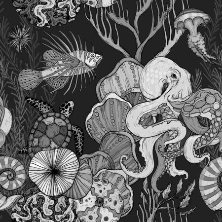 Seamless pattern with ocean night life. Black and white