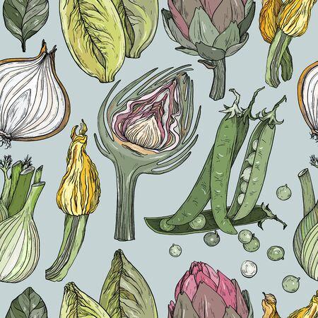 Seamless pattern with nature mediterranean vegetables. Fresh organic food. Hand-drawn sketch.