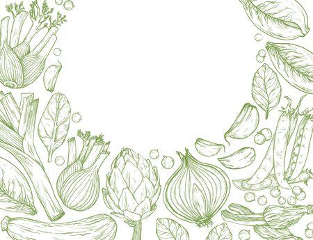 Vegetables Hand-drawn background with nature mediterranean vegetables.