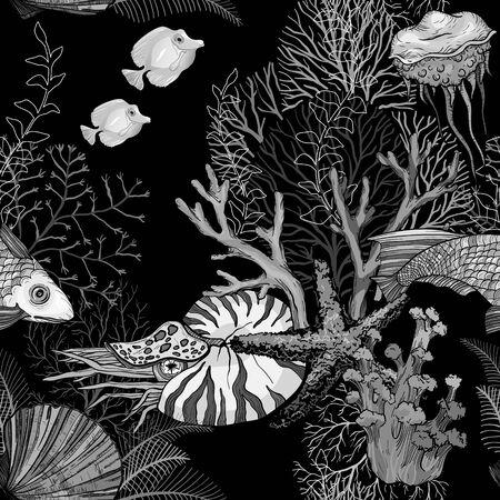 Black and white Seamless pattern with dark ocean night, hand drawn marine life.