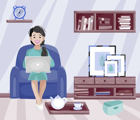 Home office. Woman working at home. Freelancer female character working from home with laptop. Remote work Vettoriali