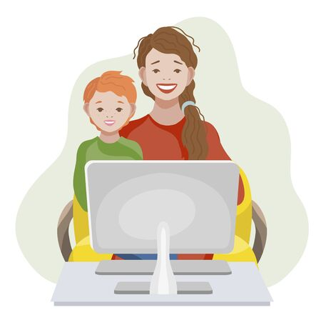 Online Education and learning for kids concept. Mom and son with computer. Vector illustration Vettoriali