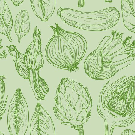 Seamless green pattern with nature mediterranean vegetables. Vegetables vintage Hand-drawn sketch