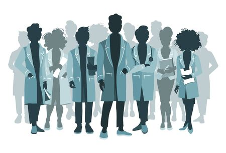 Group of doctors and medical staff people silhouettes in various poses. Hospital medical team concept. Vettoriali