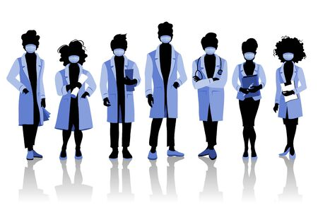 Group of doctors and medical staff people in surgical masks, various poses. Hospital medical team concept. Ilustracja