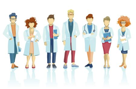 Group of doctors and medical staff people, character in various poses. Hospital medical team concept.