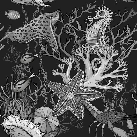 Seamless pattern with ocean night with marine life. Black and white monochrome