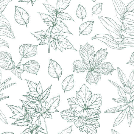 Seamless pattern with leaves, Vector illustration