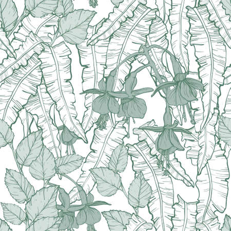 Vector Seamless pattern with thickets of weaving plants