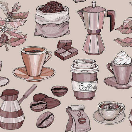Vector Seamless pattern with coffee Hand drawn illustration, coffee set Vettoriali