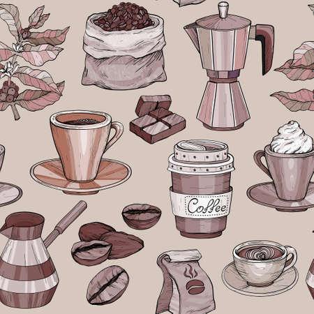 Vector Seamless pattern with coffee Hand drawn illustration, coffee set Ilustracja