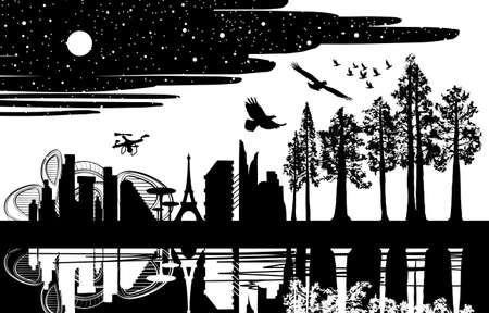 Wild forest and big modern city, silhouette style. Cityscape, abstract city building and wild nature. Environmental pollution. Vector illustration.