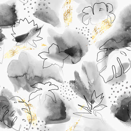 Floral abstract painted vector pattern. Watercolor wet brush