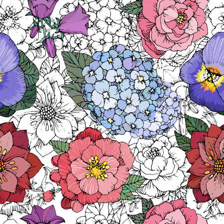 Beautiful seamless floral pattern with various flowers. Hand drawn Flowers vector background Иллюстрация