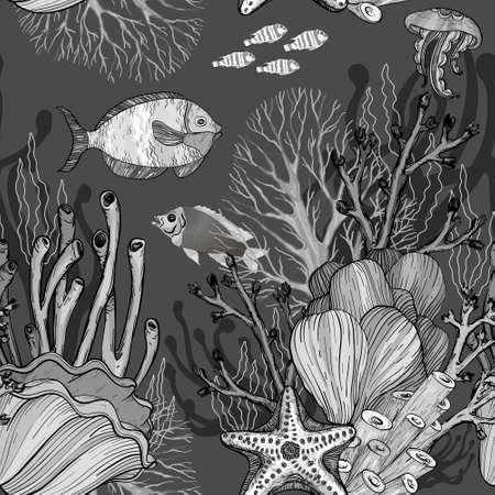 Seamless pattern with nautical sea treasure marine life. Black and white