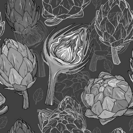 Vector seamless pattern with hand drawn artichoke. Black and white