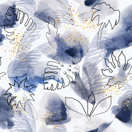Floral blue abstract painted vector pattern. Watercolor wet brush on tinsel paper