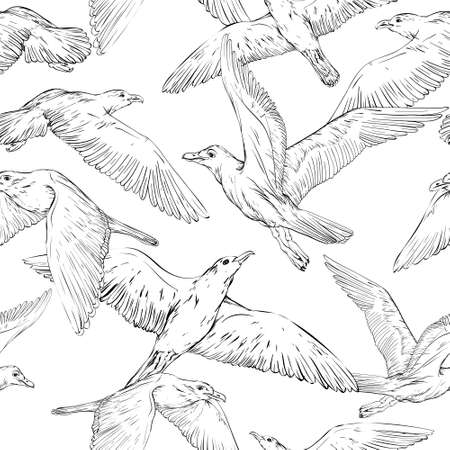 Seamless background with hand drawn seagulls, black and white