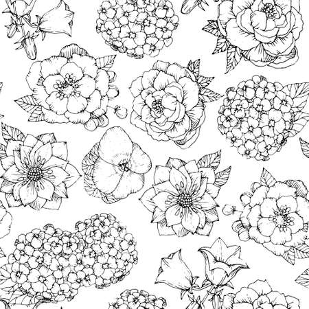 Seamless floral pattern with various flowers. Hand drawn Flowers vector background, black and white Иллюстрация