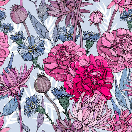 Seamless pattern with hand drawn flowers and brunchs