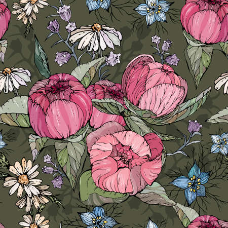 Seamless pattern with hand drawn peony and chamomile flowers