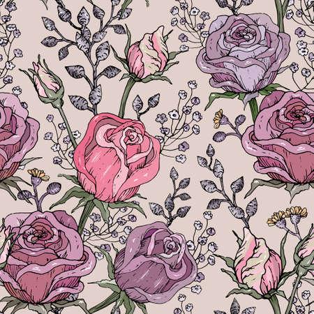 Hand drawn stylized roses seamless pattern.