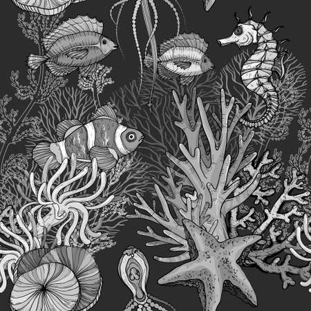 Seamless pattern with ocean marine life, clown fish in anemones, black and white Иллюстрация