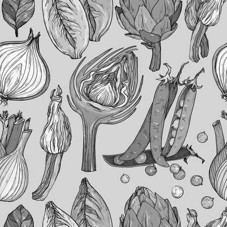 Seamless pattern with nature mediterranean vegetables. Fresh organic food. Hand-drawn sketch, black and white