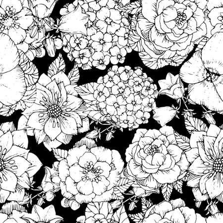 Beautiful seamless floral pattern with various flowers. Hand drawn Flowers vector background, black and white