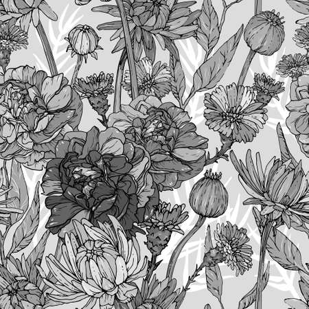 Seamless monochrome pattern with hand drawn flowers and brunchs Иллюстрация