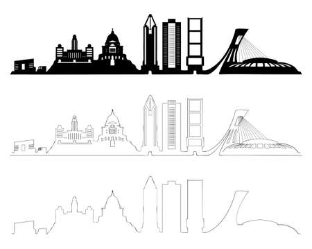Montreal skyline set, black and white