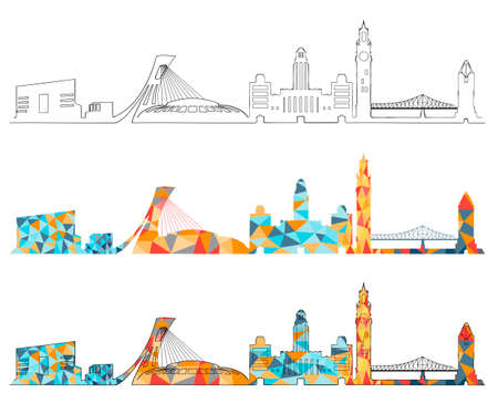 Montreal skyline design set Иллюстрация