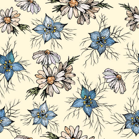Floral seamless pattern with chamomile and cornflowers meadow flowers.