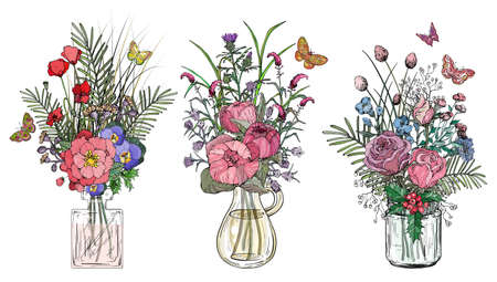 Set of bouquets of flowers in glass vases