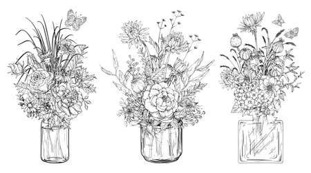 Black and white Set of bouquets of flowers in glass vases