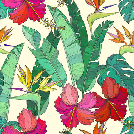Seamless pattern with Tropical palm leaves and hibiscus, bird of paradise flowers, jungle plants.