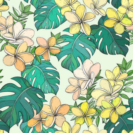 Seamless pattern with Tropical leaves and Frangipani flowers. Иллюстрация