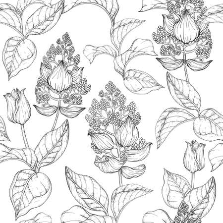 Seamless pattern with summer tropical palm leaves and flowers, jungle plants. Black and white