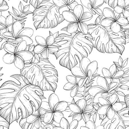 Seamless pattern with Tropical leaves and Frangipani flowers. Black and white