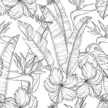 Seamless pattern with Tropical palm leaves and hibiscus, bird of paradise flowers, jungle plants. Black and white