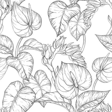 Seamless pattern with Tropical palm leaves and flowers, Black and white .
