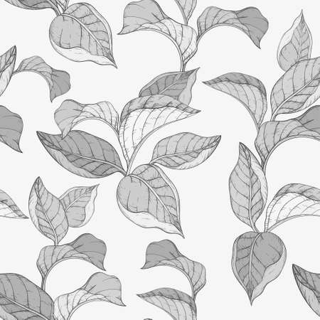 Seamless monochrome pattern with forest leafs.