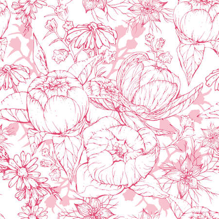 Seamless monochrome pattern with hand drawn peony and chamomile flowers