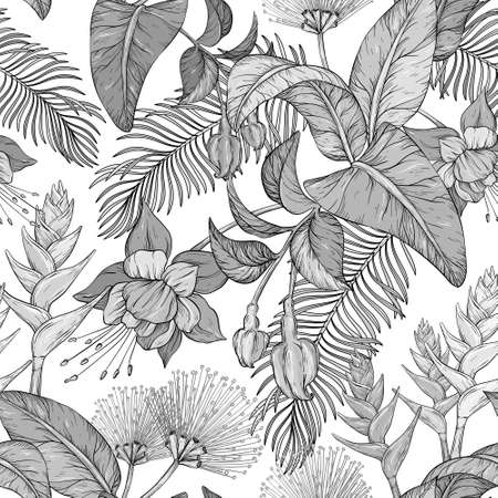 Seamless monochrome pattern with Tropical flowers and leaves. Jungle leaves and exotic plants