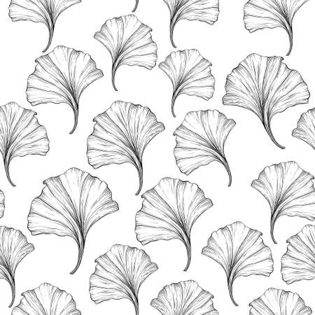 Floral seamless pattern with ginkgo leaves. Black and white