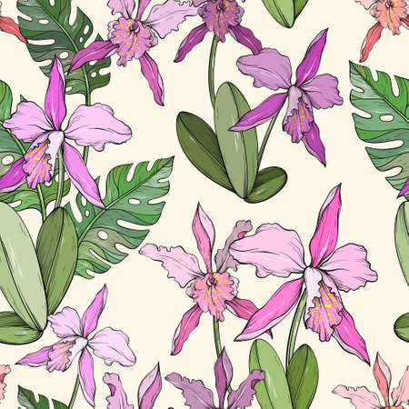 Abstract vintage seamless floral pattern with orchids and tropical leaves.