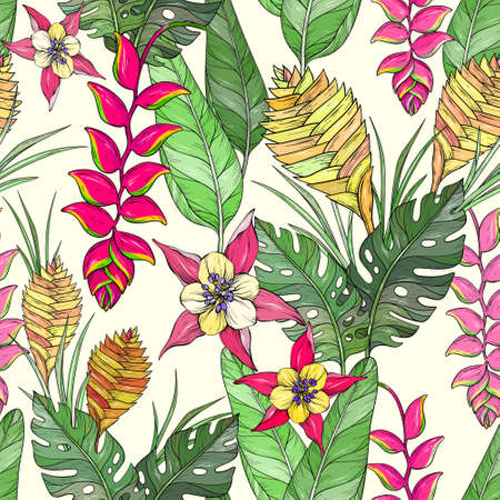 Seamless floral pattern with hand drawn jungle leaves and exotic flowers. Heliconia flowers and tropical leaves Иллюстрация