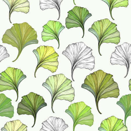 Floral seamless pattern with ginkgo leaves.