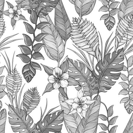 Seamless Black and whitefloral pattern with hand drawn jungle leaves and flowers. Heliconia flowers and tropical leaves Иллюстрация